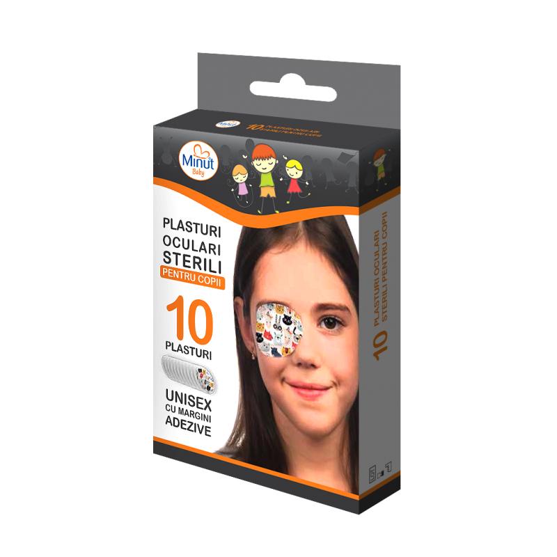 Plasturi oculari sterili cu desene Minut pentru copii 10 buc imagine
