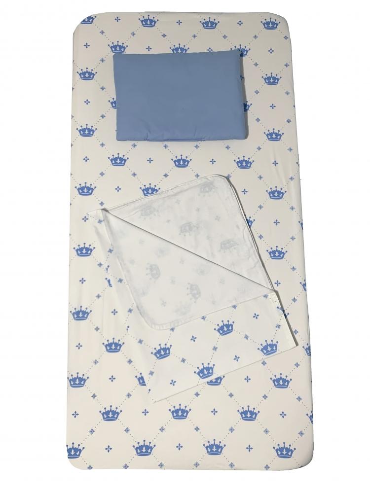 Set 3 piese paturica cu cearsaf si pernuta 120x60 cm Coronite albastre