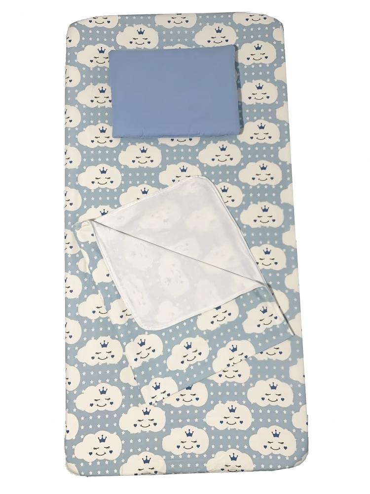 Set 3 piese paturica cu cearsaf si pernuta 120x60 cm Norisori zambareti albastri