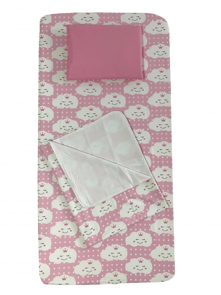 Set 3 piese paturica cu cearsaf si pernuta 160x80 cm Norisori zambareti roz
