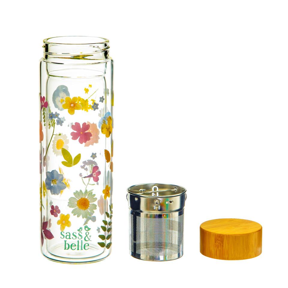 Sticla pentru apa cu infuzor si capac Pressed Flowers