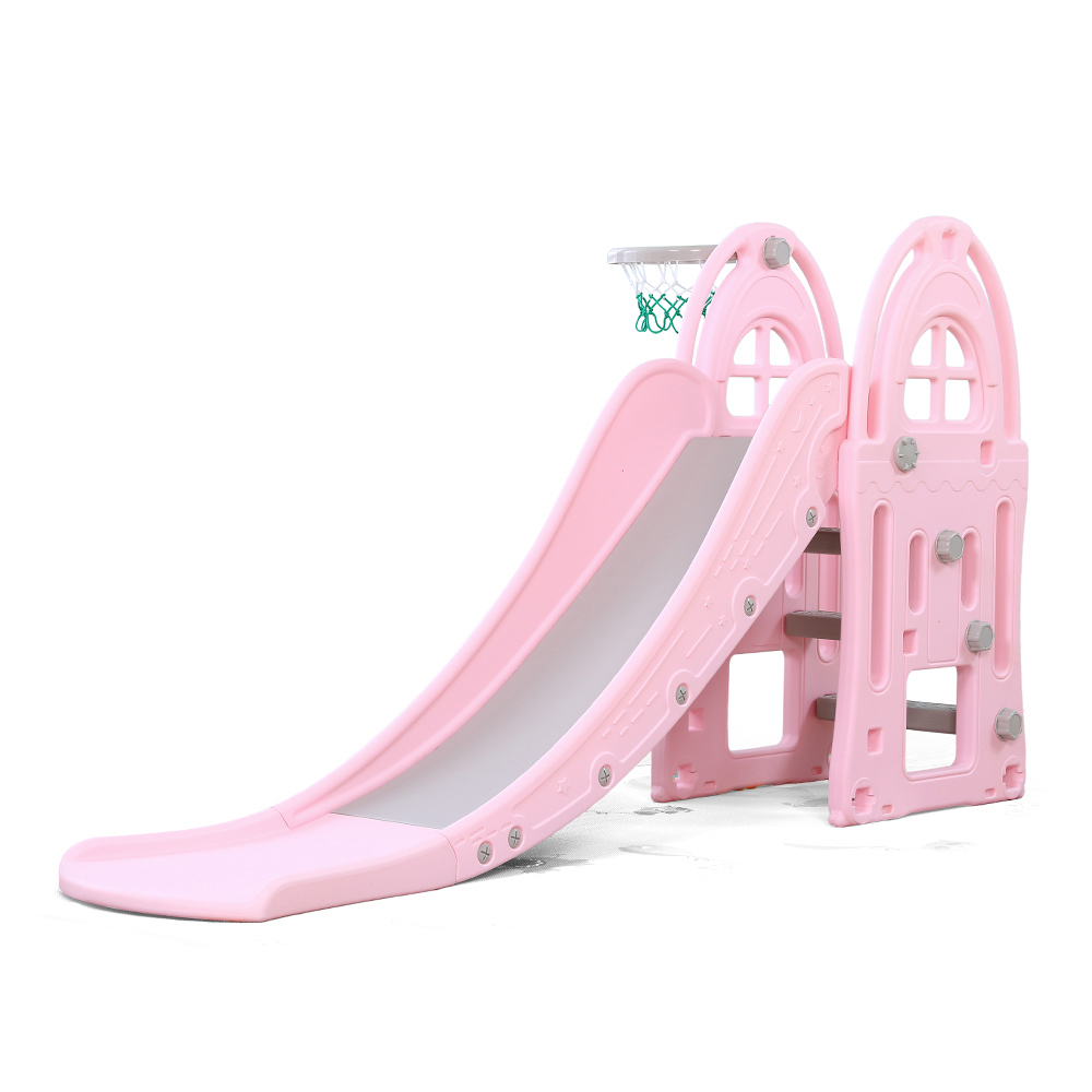 Tobogan pentru copii cu cos de baschet Nichiduta Garden Happy Kid Pink imagine