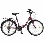 Bicicleta City 24 Rich R2432A cu 18 viteze culoare visiniu/alb