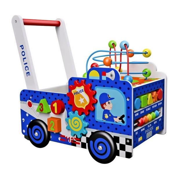 Antepremergator educational din lemn Ecotoys masina de politie multicolor