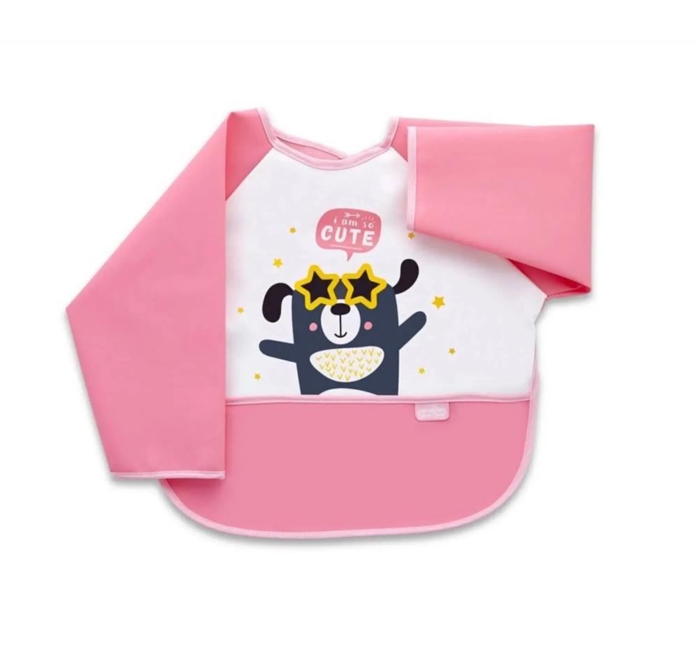 Baveta Cu Maneci Si Buzunar Babyjem Polly Bib Pink
