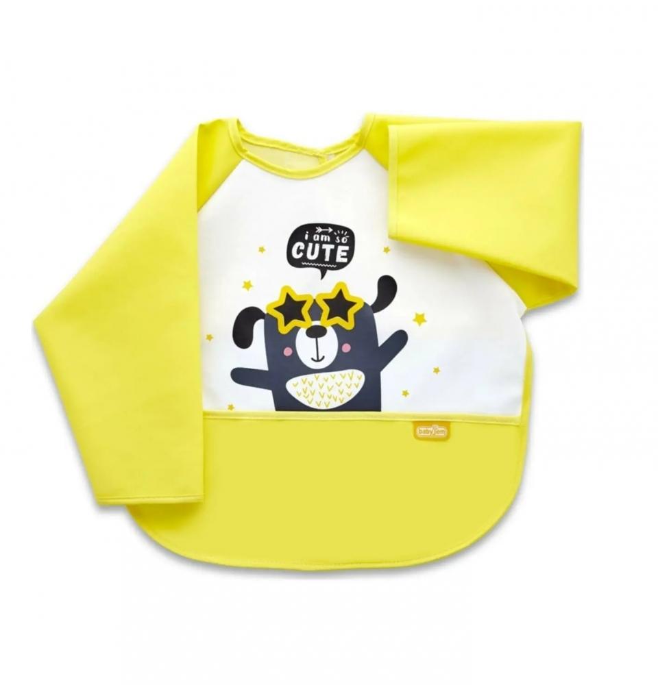 Baveta Cu Maneci Si Buzunar Babyjem Polly Bib Yellow