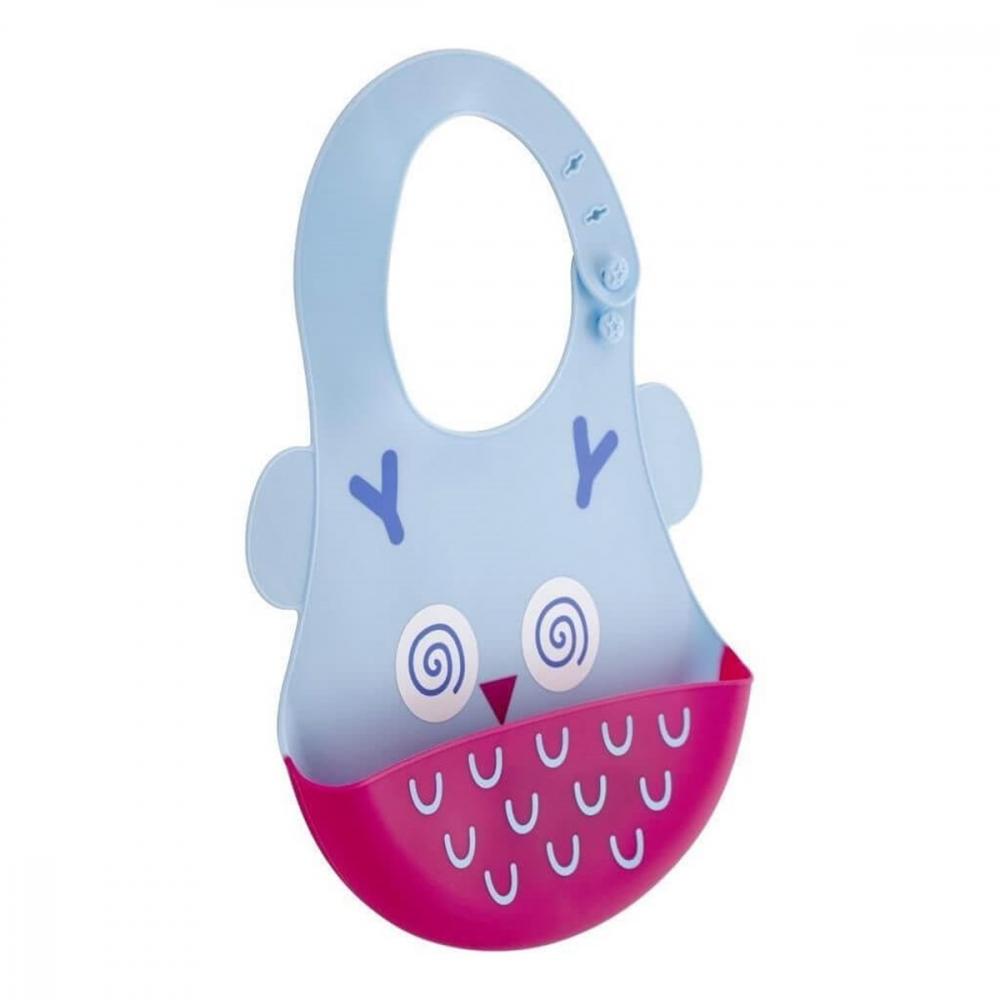 Baveta din silicon Soft Baby Bib Owl Blue imagine