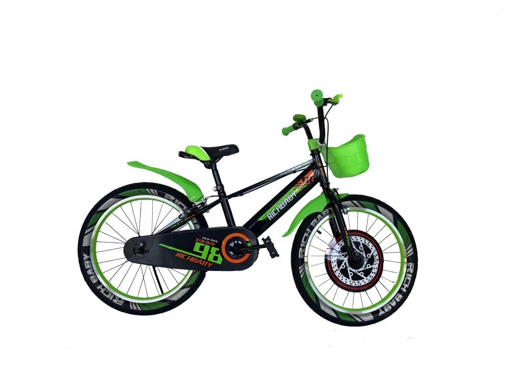 Bicicleta baieti 20 inch Rich R2007A frana C-Brake otel negruverde 7-10 ani