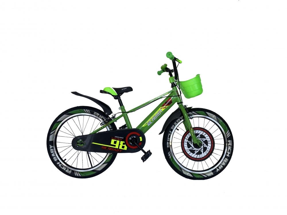 Bicicleta baieti 20 inch Rich R2007A frana C-Brake otel verdenegru 7-10 ani