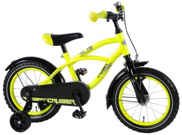 Bicicleta pentru baieti 14 inch cu roti ajutatoare si frana de mana Volare Yellow Cruiser 81419