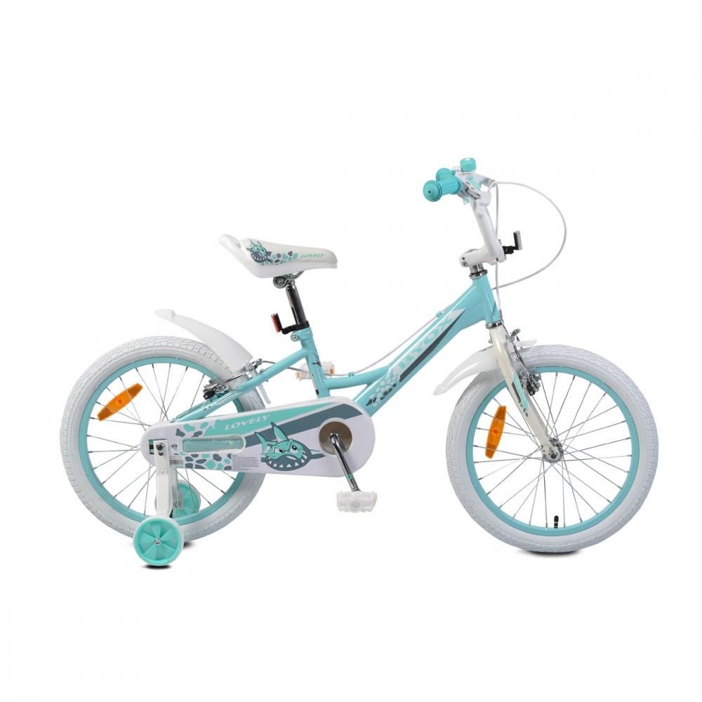 Bicicleta pentru fetite cu roti ajutatoare Byox Lovely 18 inch Turquoise