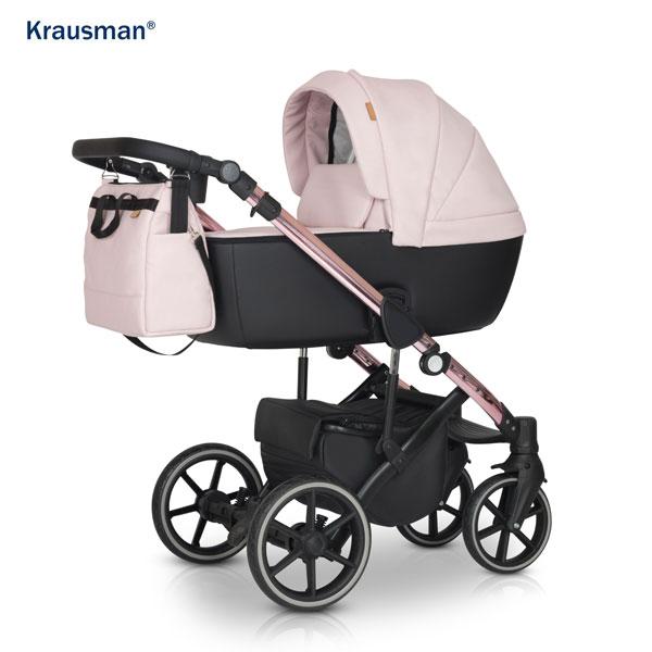 KRAUSMAN Carucior 3 in 1 Storm Pink Shiny