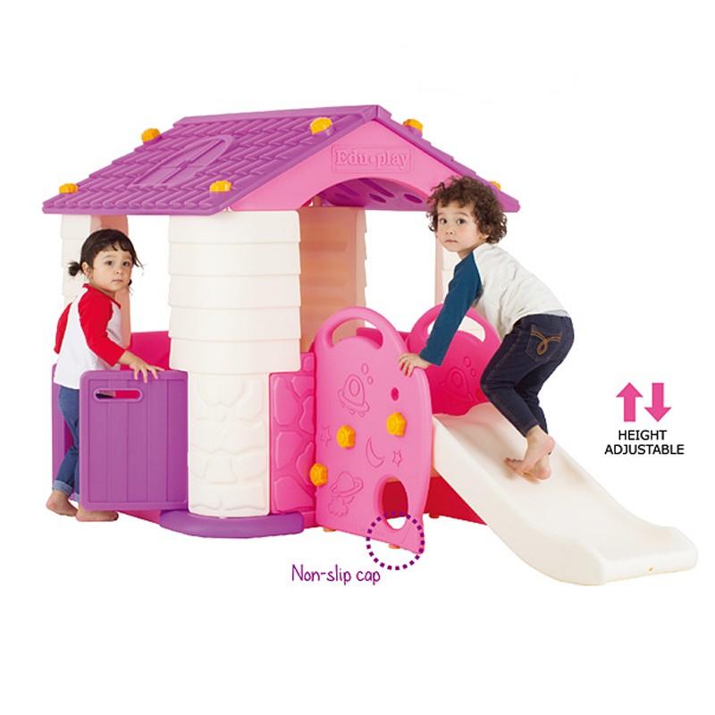 Casuta copii 2 in 1 deluxe cu tobogan Edu Play Violet