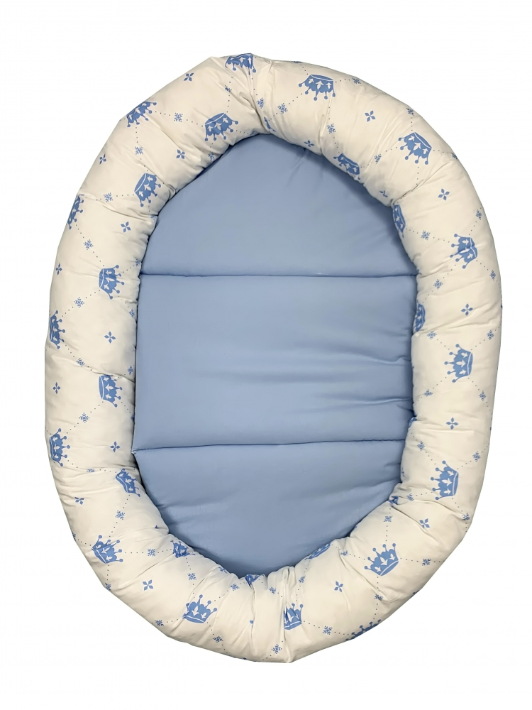 Cuib Baby Nest cu salteluta detasabila Coronite albastru