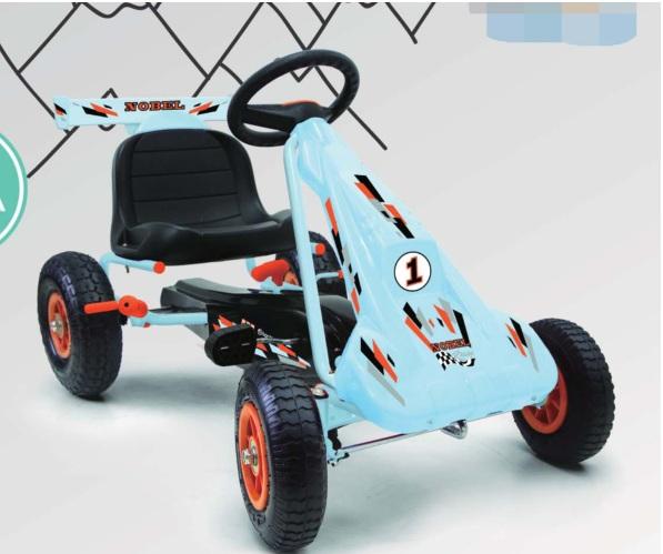 Kart cu pedale si roti gonflabile Nobel Race Blue