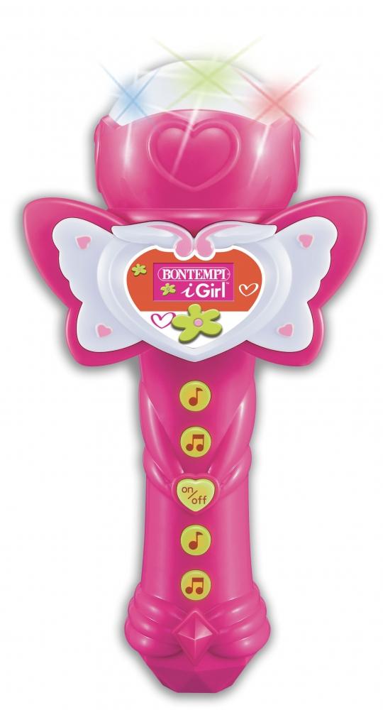 Microfon roz Karaoke cu lumini Bontempi