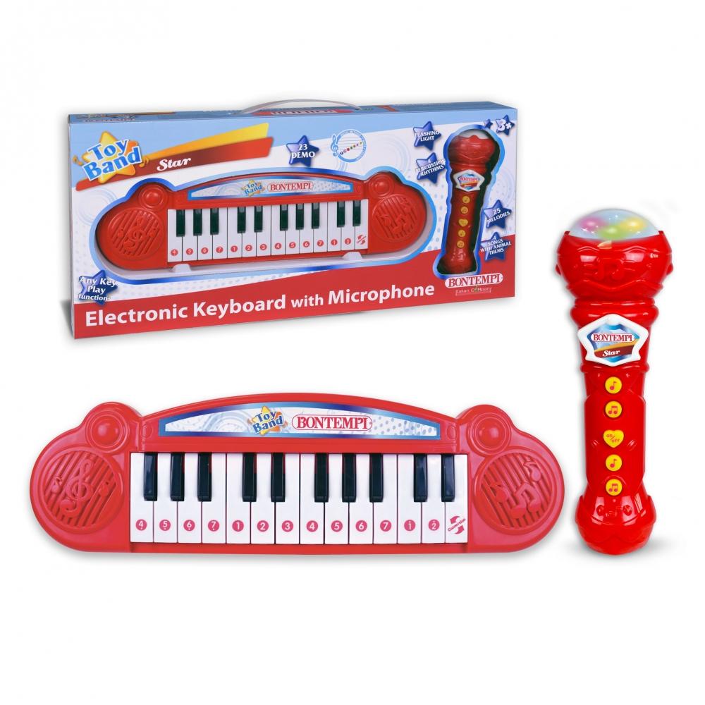 Miniorga rosie electronica Bontempi cu microfon Karaoke cu 24 de clape