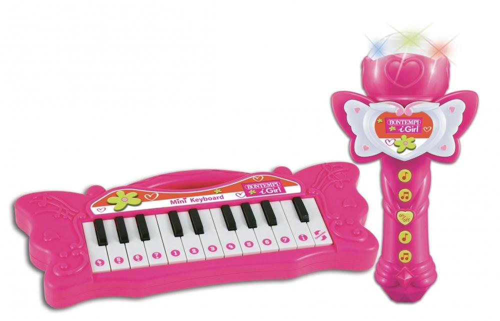 Miniorga roz electronica Bontempi cu microfon Karaoke si 22 de clape