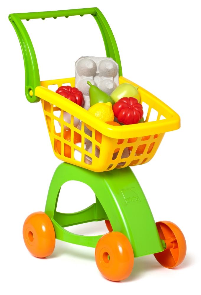 Carucior de cumparaturi cu alimente si fructe de plastic incluse