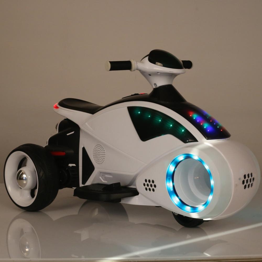 Motocicleta electrica C-toys copii Space Ship cu acumulator muzica si lumini alb