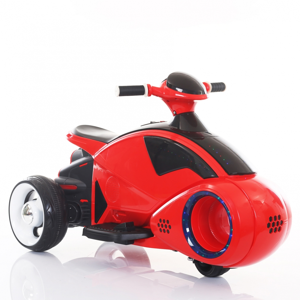 Motocicleta electrica C-toys copii Space Ship cu acumulator muzica si lumini rosu