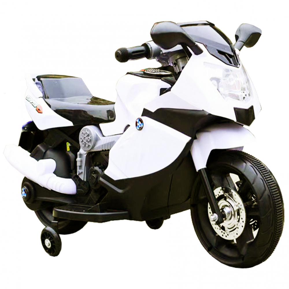 Motocicleta electrica copii C-Toys cu roti detasabile si lumini alb imagine