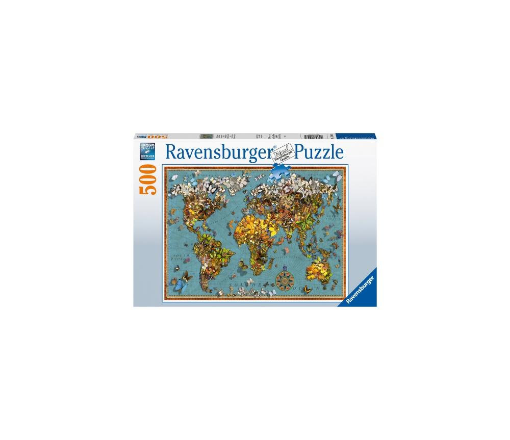 Puzzle harta lumii fluturi 500 piese