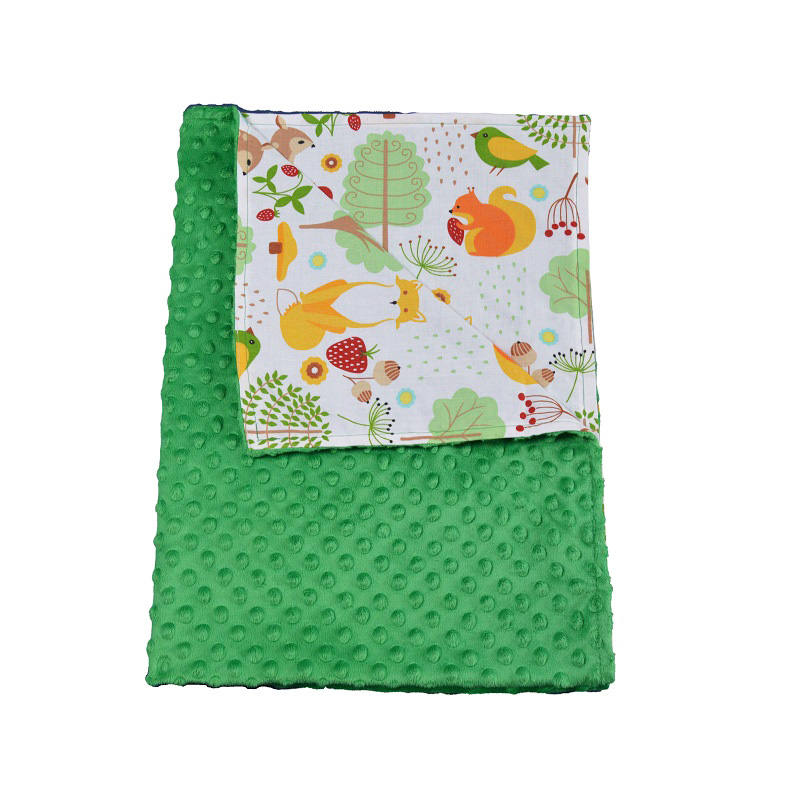 Paturica bebelusi Ingrids Fabrics bumbac plush minky dots Prietenii padurii verde 75x95 cm imagine