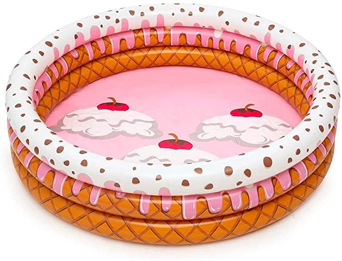 Piscina gonflabila cu 3 inele si imprimeu inghetata 160 x 38 cm