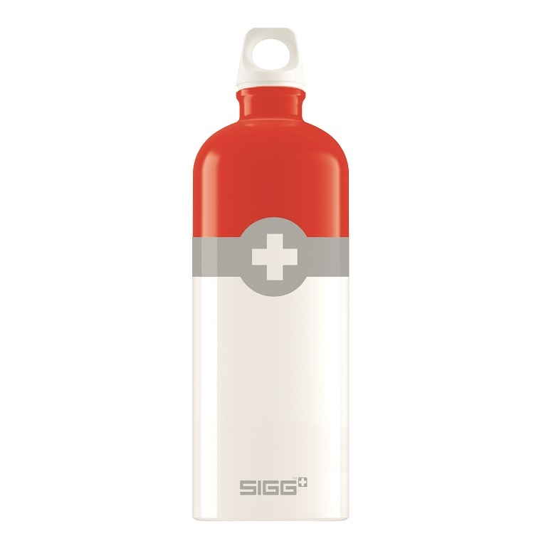 Bidon din aluminiu Sigg Swiss logo red 1l