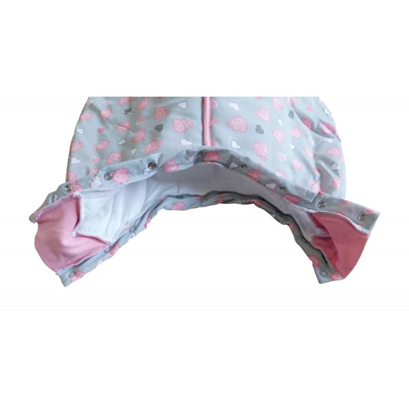 Sac de dormit cu picioruse Pink Elephant 6-12 luni 1.0 Tog