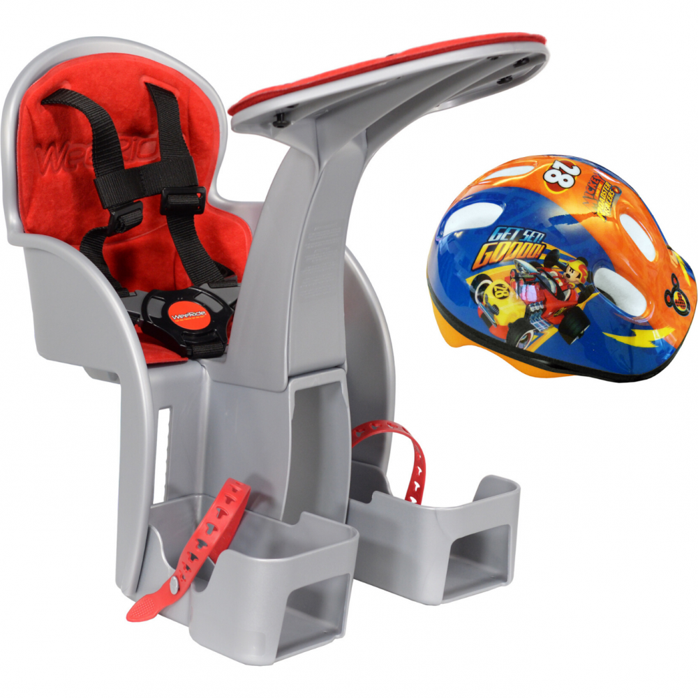 Scaun de bicicleta SafeFront Clasic si casca protectie Mickey WeeRide WR09DMK