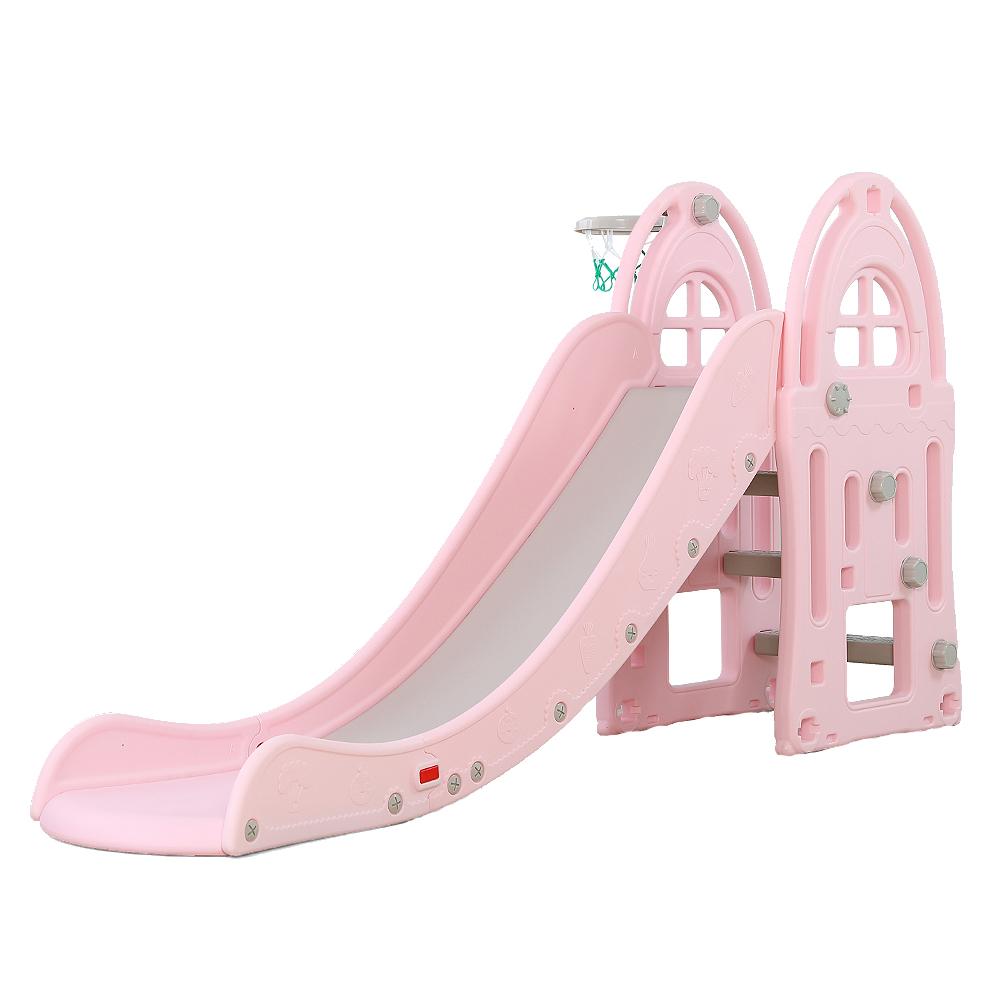 Nichiduta Tobogan pentru copii cu cos de baschet Nichiduta Garden Happy Slide Pink