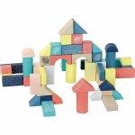 Set 54 cuburi multicolore din lemn