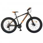 Bicicleta Fat Bike Carpat Hercules 26 C2619B frane mecanice disc negru/portocaliu