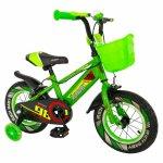 Bicicleta baieti Rich Baby 16 R1607A C-Brake otel roti ajutatoare cu Led 4-6 ani verde/negru