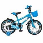 Bicicleta baieti Velors V1401A 14 C-Brake cu cosulet si roti ajutatoare led 3-5 ani albastru/alb