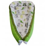 Cuib bebelusi Ingrids Fabrics Bufnite verde bumbac 100%