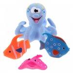 Jucarie de baie caracatita cu 3 pestisori Eddy Toys albastru