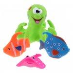 Jucarie de baie caracatita cu 3 pestisori Eddy Toys verde