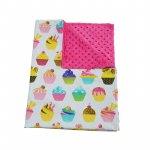 Paturica bebelusi Ingrids Fabrics bumbac plush minky dots Briose fucsia 75x95 cm