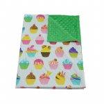 Paturica bebelusi Ingrids Fabrics bumbac plush minky dots Briose verde 75x95 cm