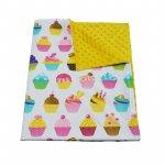 Paturica bebelusi Ingrids Fabrics bumbac plush minky dots Briose yellow 75x95 cm