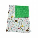 Paturica bebelusi Ingrids Fabrics bumbac plush minky dots Campie verde 75x95 cm