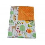 Paturica bebelusi Ingrids Fabrics bumbac plush minky dots Prietenii padurii orange 75x95 cm