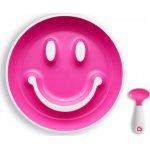 Set farfurie zambareata si lingurita roz