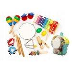 Set muzical din lemn Ecotoys 10 instrumente multicolor