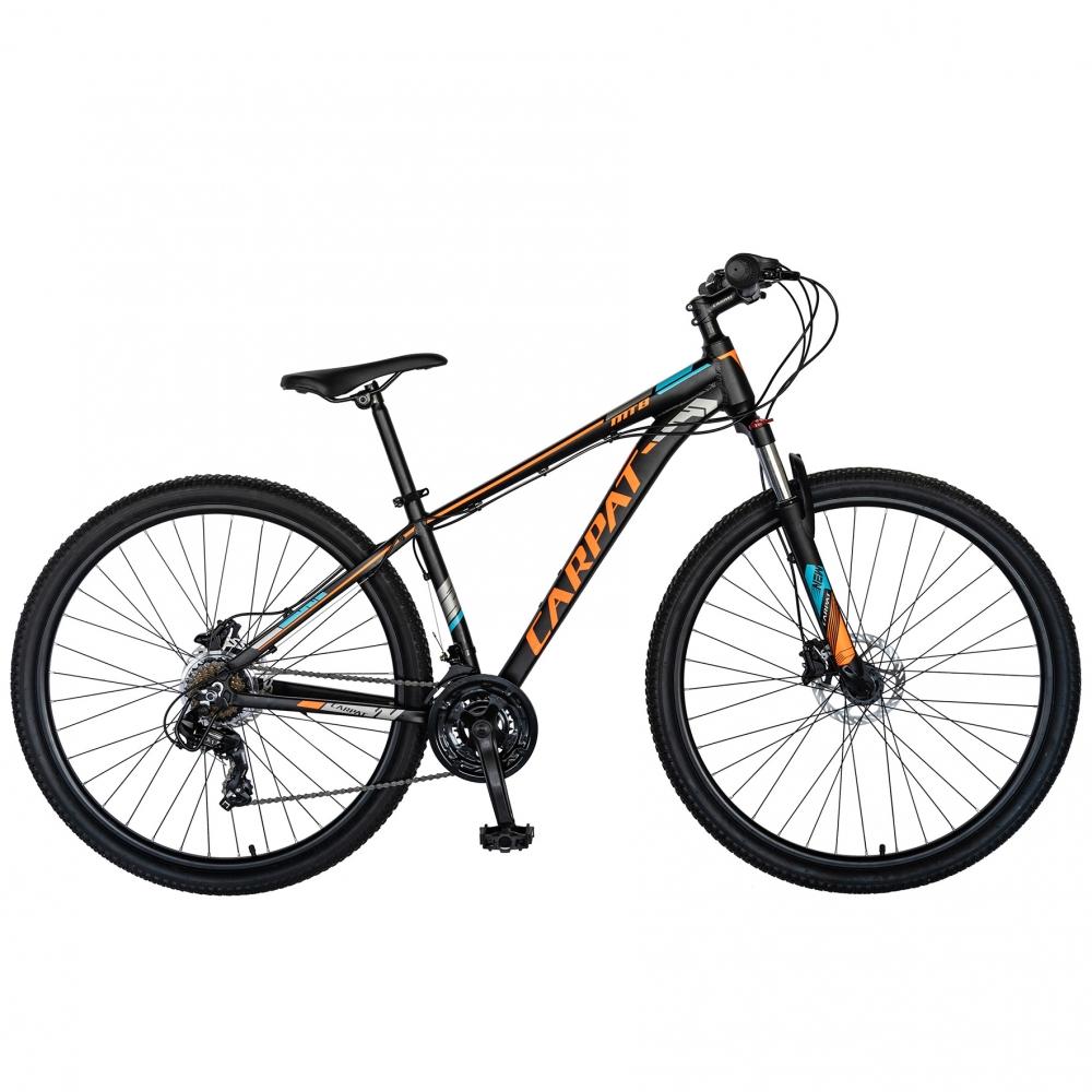 Bicicleta MTB-HT 27 Carpat C2799H cadru aluminiu 21 viteze culoare negruportocaliu