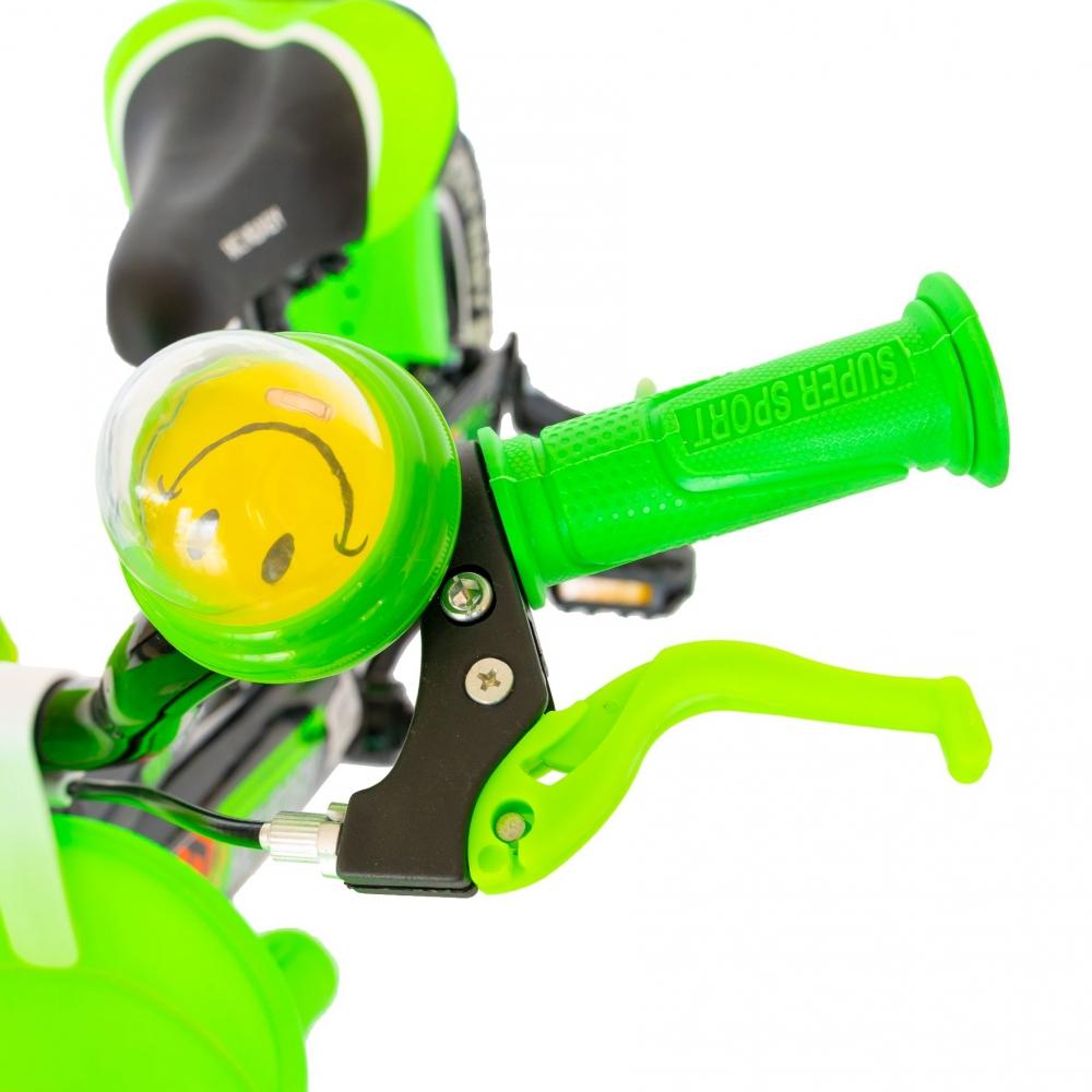 Bicicleta baieti Rich Baby R1407A 14 inch C-Brake cu cosulet si roti ajutatoare cu led 3-5 ani negruverde imagine