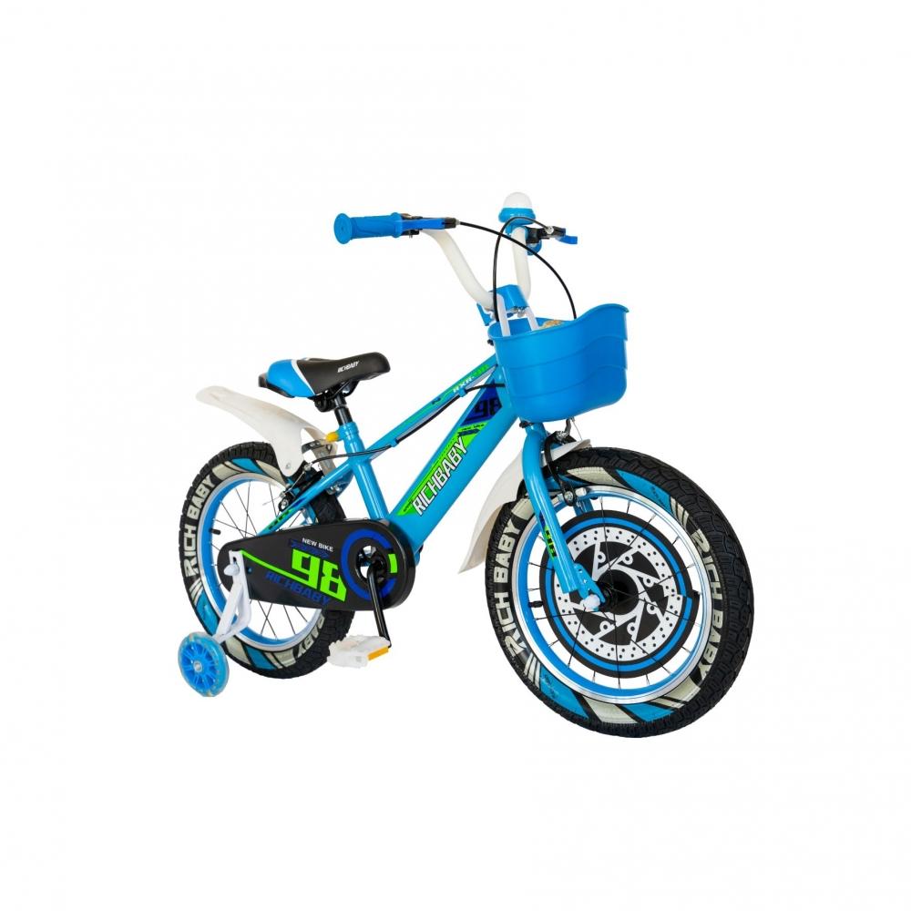 Bicicleta baieti Rich Baby R1807A 18 inch C-Brake otel cu cosulet si roti ajutatoare cu led 5-7 ani albalbastru
